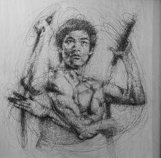 Bruce Lee scribble art by Vince Low