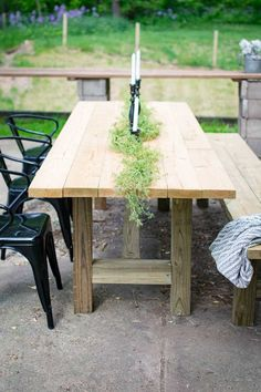 DIY Outdoor Farmhouse Patio Table 2019 outdoor farmhouse table / DIY furniture / outdoor furniture / DIY projects / woodworking / DIY table / farmhouse style The post DIY Outdoor Farmhouse Patio Table 2019 appeared first on Patio Diy. Farm Table Plans, Outdoor Farmhouse Table, Outdoor Dining, Outdoor Decor, Farmhouse Chairs, Rustic Outdoor, Outdoor Table Plans, Wooden Outdoor Table, Outdoor Tables And Chairs