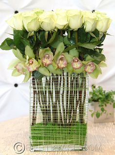 Roses and Emerald Orchids- so chic, Empty Vase Florist of Los Angeles