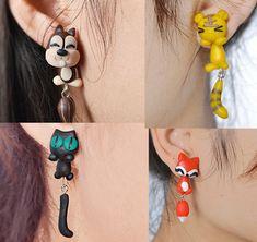 Fashion Handmade Polymer Clay Earrings Animal Cat Fish Fox Panda Tiger Squirrel Piranha Plant Earring Wholesale 12 Pairs