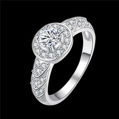 2016 de la moda de joyería de plata de la CZ clásico anillo de diamantes de joyería del encanto de la venta del Día de San Valentín regalo de…