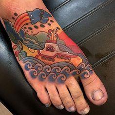 'Yellow Submarine' tattoo by Joshua Ross