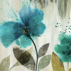 """Teal Splash II"" by Asia Jensen Painting Print on Wrapped Canvas 