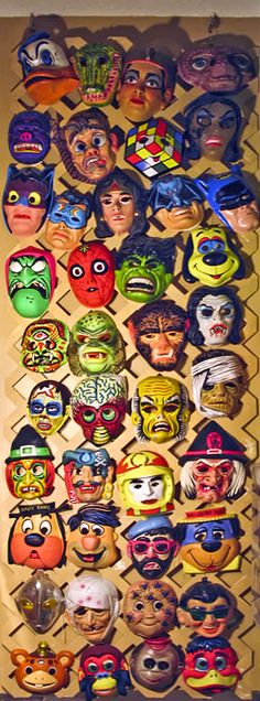 Halloween masks sold by Ben Cooper, the largest Halloween costume company in the U.S. by 1979 (it's now dissolved), offering pretty much any pop culture reference in costume form. Responsible for turning Halloween into big business...