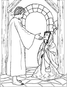 Mary and the Angel Gabriel Coloring Page  Annunciation  March