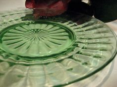 "Hocking Green ""Block Optic"" Depression Glass Lunch Plate - Vintage Glassware 