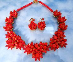 "Signed Stanley Hagler "" Sweetheart  Red Floral "" Demi Parure found at www.rubylane.com"
