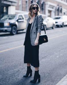 black dress grey checkerd blazer black boots
