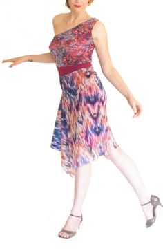 043872133216a Zig-zag one shoulder Argentine tango dress. Elegant ballroom dress. Summer  wedding guest dress. Mesh dress with asymmetric skirt