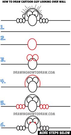 Learn How to Draw Cartoon Guy Looking Over a Wall - Simple Step by Step Drawing Lesson for Kids: