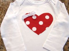 Red and White Polka Dot Heart Onesie