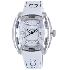 Keep the time in dazzling fashion with this women's white patent-leather watch from Baci Abbracci. Constructed from high-polish stainless steel, this water-resistant watch with black accents will easily complement your causal ensembles.