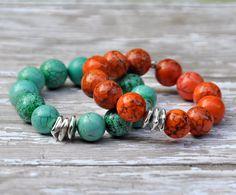NEW Chunky Orange or Green Gemstone Beaded Bracelets by BeadRustic, $55.00