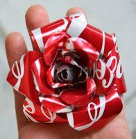 Reciclar latas de refresco. Flores decorativas.