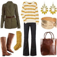 I like the jacket, striped sweater, wide leg pants, boots and bag.  I was concerned this mustard yellow wouldn't look good on me, but I think differently now.