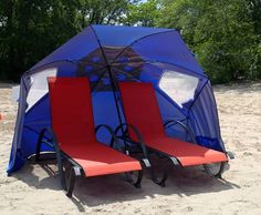 Comfy Beach Spots all set up & waiting for you to enjoy at Burlington Beach Rentals! They even stream Wi-Fi!