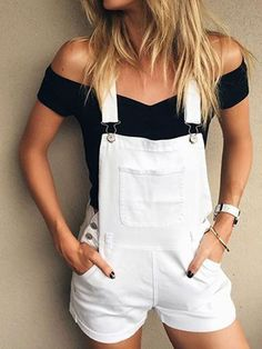 Fashion Women Pocket Rivet Suspender Shorts