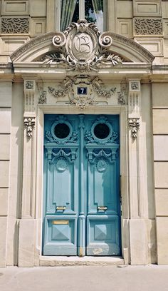 ornate blue doors in Paris. Being a massive fan of illustration I will Pin some images of doors and my illustrations Cool Doors, Unique Doors, The Doors, Windows And Doors, Grand Entrance, Entrance Doors, Doorway, Classic Architecture, Beautiful Architecture