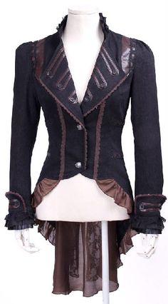 Veste noire et marron steampunk longue au dos avec dentelle RQ-BL