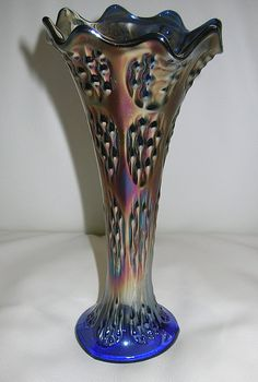 knotted Beads Fenton Vase / Carnival GLass