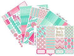 Pink Champagne Collection Planner Stickers by ItsJustPaperCo