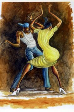 Ernie Barnes painting, love the lines