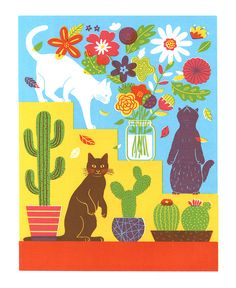 Cats Flowers, and Cactus(Etsy のboyounkimより) https://www.etsy.com/jp/listing/524738357/cats-flowers-and-cactus