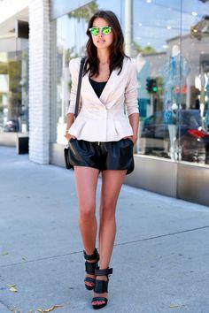 peplum blazer with leather shorts
