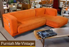 Contemporary Used Orange Sofa Sectional