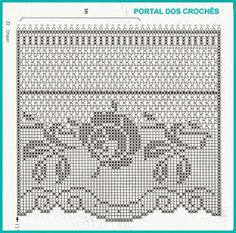 PORTAL DOS CROCHÊS Crochet Diy, Crochet Lace Edging, Crochet Motifs, Crochet Borders, Crochet Doilies, Crochet Stitches, Crochet Home, Irish Crochet, Cortinas Crochet