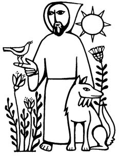 Saint Francis Of Assisi. The simple style suits Brother Francis, and this has a bird *and* the Wolf of Gubbio (one of my favorite St. Francis stories: about a win-win, nonviolent solution to violence).