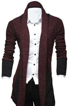 SHARE & Get it FREE | Turn-Down Collar Color Block Splicing Long Sleeve…
