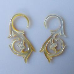 12 Gauge (2 mm) Earrings - Yellow Mother of Pearl Shell, Natural, Organic, Tribal, Hand Carved (0044). $14.00, via Etsy.