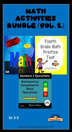 This resource Math Activity Bundle (Vol.1) set includes (1) Mathematics Assessment: Grade 4 (Numbers and Operations, (2) Mathematics Assessment: Fourth Grade Math Practice Test, and (3) Multi-Step Word Problem Task Cards.