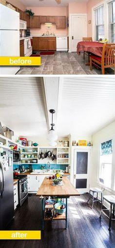 10 Before & After Kitchen Renovations Kitchen On A Budget, Kitchen Redo, New Kitchen, Kitchen Design, Kitchen Island, Happy Kitchen, Kitchen Tile, Kitchen Pantry, Vintage Kitchen