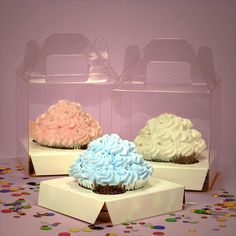 Clear one cupcake box with handle