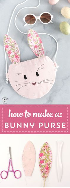 Sewing Gifts How to make a bunny purse, a free bunny sewing pattern for the Cricut Maker - cute kids purse ideas Easy Sewing Projects, Sewing Projects For Beginners, Sewing Hacks, Sewing Tutorials, Sewing Tips, Sewing Ideas, Tutorial Sewing, Diy Projects, Sewing Patterns Free