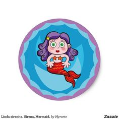 Linda sirenita. Sirena, Mermaid. Producto disponible en tienda Zazzle. Product available in Zazzle store. Regalos, Gifts. Link to product: http://www.zazzle.com/linda_sirenita_sirena_mermaid_classic_round_sticker-217580680358632963?CMPN=shareicon&lang=en&social=true&rf=238167879144476949 #sticker #sirena #mermaid