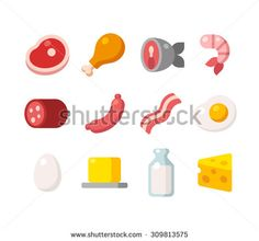 Flat icons of meat and dairy products, animal sources of protein.