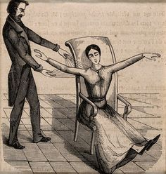 1845, a practitioner of mesmerism using animal magnetism  on a woman who responds with convulsions. #hypnosis