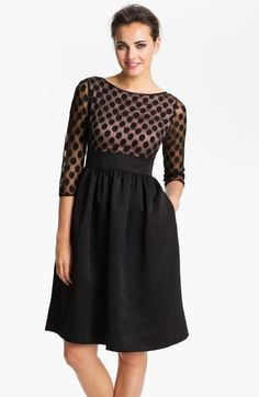 Eliza J Dot Mesh Bodice Fit & Flare Dress (Regular & Petite) available at #Nordstrom