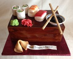 Sushi cake   fondant   sushi rolls   ngiri   fortune cookie   birthday cake   wasabi   ginger   soy sauce   chopsticks   food cakes