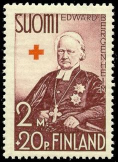 Postage stamp depicting Finnish Archbishop Edvard-Bergenheim.