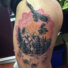 Mandala Mountain Tattoo by Jenelle Walsh
