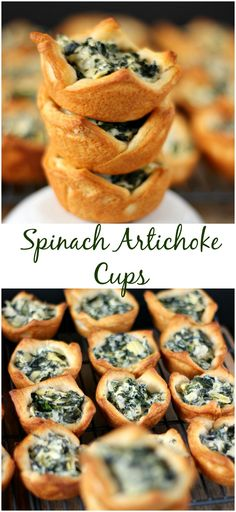 Spinach Artichoke Cups - My Kitchen Craze Appetizers For Party, Appetizer Recipes, Spinach Artichoke Cups, Artichoke Dip, Food Network, Baby Food Recipes, Cooking Recipes, Food Baby, Snacks Sains