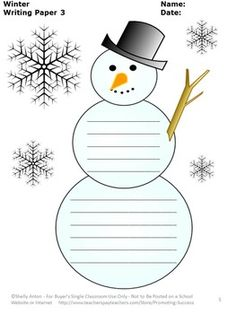 FREE Winter Writing Paper Snowman Literacy Center Creative Writing ~ Teachers Pay Teachers Promoting Success for You and Your Students!