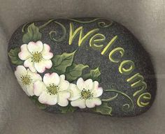 Welcome Rock by Jackie Klauer design. This is much cuter than a welcome mat.