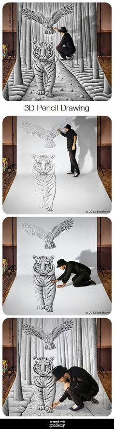 3D Pencil Drawing via pindemy.com Venez nous rencontrer sur le salon 8° AVENUE à PARIS du 22 au 26 octobre prochain, avenue des Champs-Elysées / STAND 524E. Rens. : streetartgalerie@gmail.com