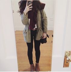 Oxfords + Black pants + Army jacket + Scarf