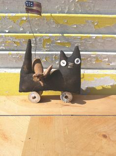 Primitive Americana Cat Pull Toy. $10.00, via Etsy.